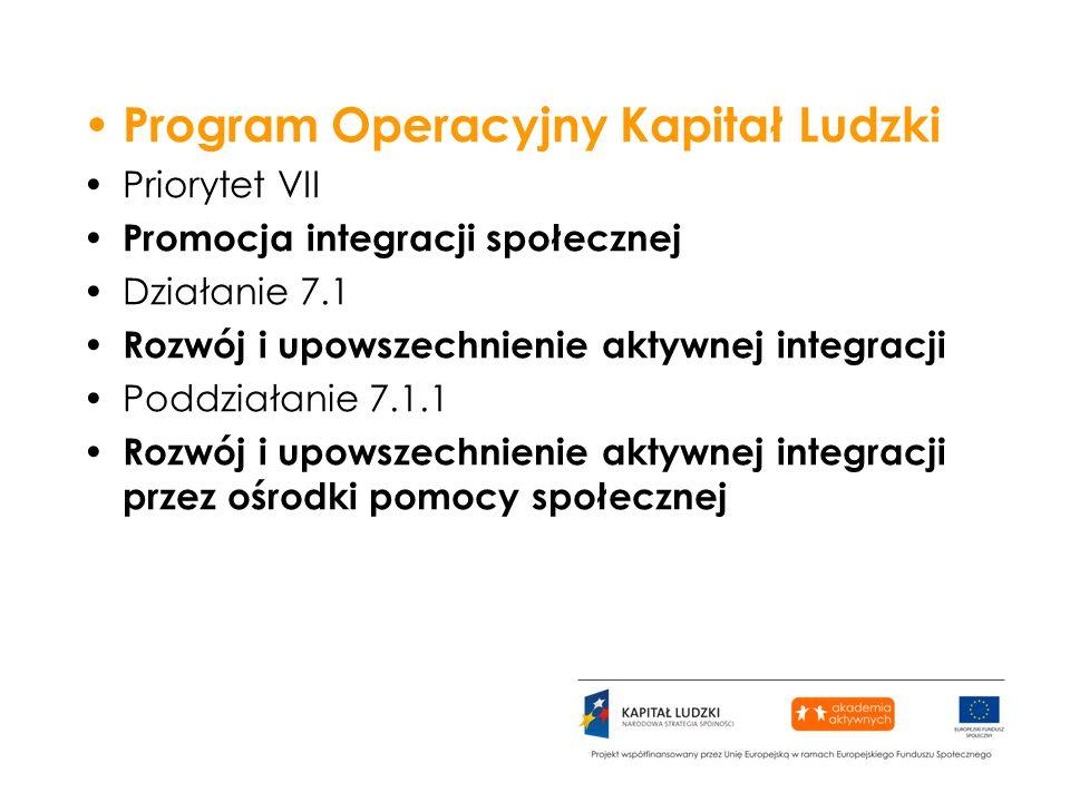 Program Operacyjny Kapitał Ludzki Priorytet VII Promocja integracji społecznej Działanie 7.1 Rozwój i upowszechnienie aktywnej integracji Poddziałanie 7.1.1 Rozwój i upowszechnienie aktywnej integracji przez ośrodki pomocy społecznej