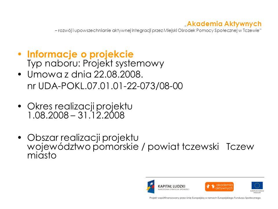 Akademia Aktywnych – rozwój i upowszechnianie aktywnej integracji przez Miejski Ośrodek Pomocy Społecznej w Tczewie Informacje o projekcie Typ naboru: