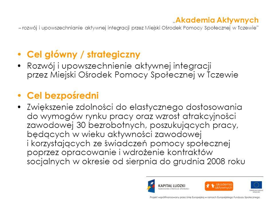 Akademia Aktywnych – rozwój i upowszechnianie aktywnej integracji przez Miejski Ośrodek Pomocy Społecznej w Tczewie Cel główny / strategiczny Rozwój i upowszechnienie aktywnej integracji przez Miejski Ośrodek Pomocy Społecznej w Tczewie Cel bezpośredni Zwiększenie zdolności do elastycznego dostosowania do wymogów rynku pracy oraz wzrost atrakcyjności zawodowej 30 bezrobotnych, poszukujących pracy, będących w wieku aktywności zawodowej i korzystających ze świadczeń pomocy społecznej poprzez opracowanie i wdrożenie kontraktów socjalnych w okresie od sierpnia do grudnia 2008 roku