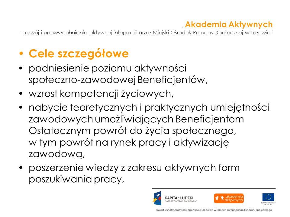 Akademia Aktywnych – rozwój i upowszechnianie aktywnej integracji przez Miejski Ośrodek Pomocy Społecznej w Tczewie Cele szczegółowe podniesienie pozi