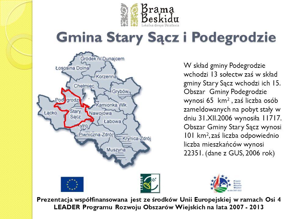 Gmina Stary Sącz i Podegrodzie W skład gminy Podegrodzie wchodzi 13 sołectw zaś w skład gminy Stary Sącz wchodzi ich 15. Obszar Gminy Podegrodzie wyno