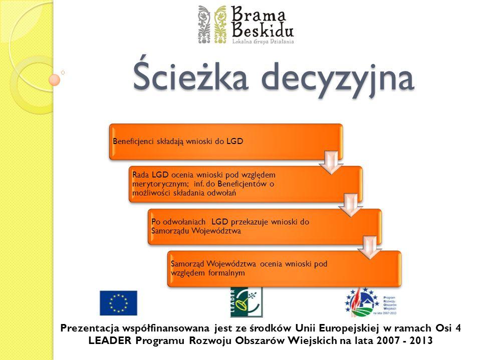Ścieżka decyzyjna Prezentacja współfinansowana jest ze środków Unii Europejskiej w ramach Osi 4 LEADER Programu Rozwoju Obszarów Wiejskich na lata 200