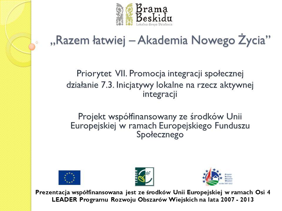 Razem łatwiej – Akademia Nowego Życia Priorytet VII. Promocja integracji społecznej działanie 7.3. Inicjatywy lokalne na rzecz aktywnej integracji Pro