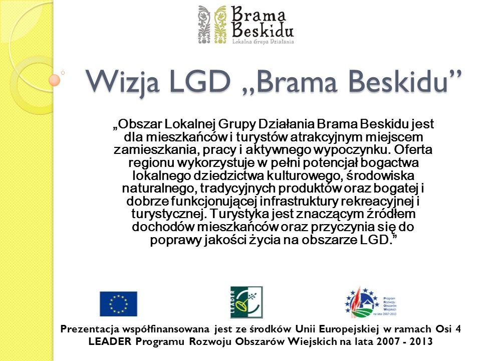 Wizja LGD Brama Beskidu Obszar Lokalnej Grupy Działania Brama Beskidu jest dla mieszkańców i turystów atrakcyjnym miejscem zamieszkania, pracy i aktyw