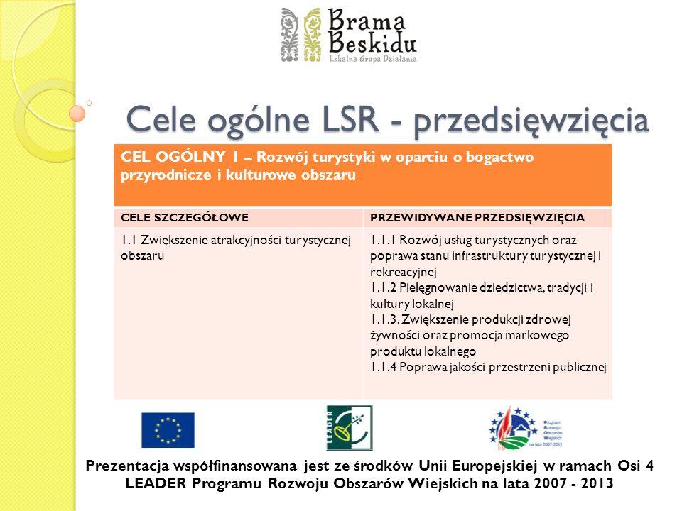 Cele ogólne LSR - przedsięwzięcia Prezentacja współfinansowana jest ze środków Unii Europejskiej w ramach Osi 4 LEADER Programu Rozwoju Obszarów Wiejs