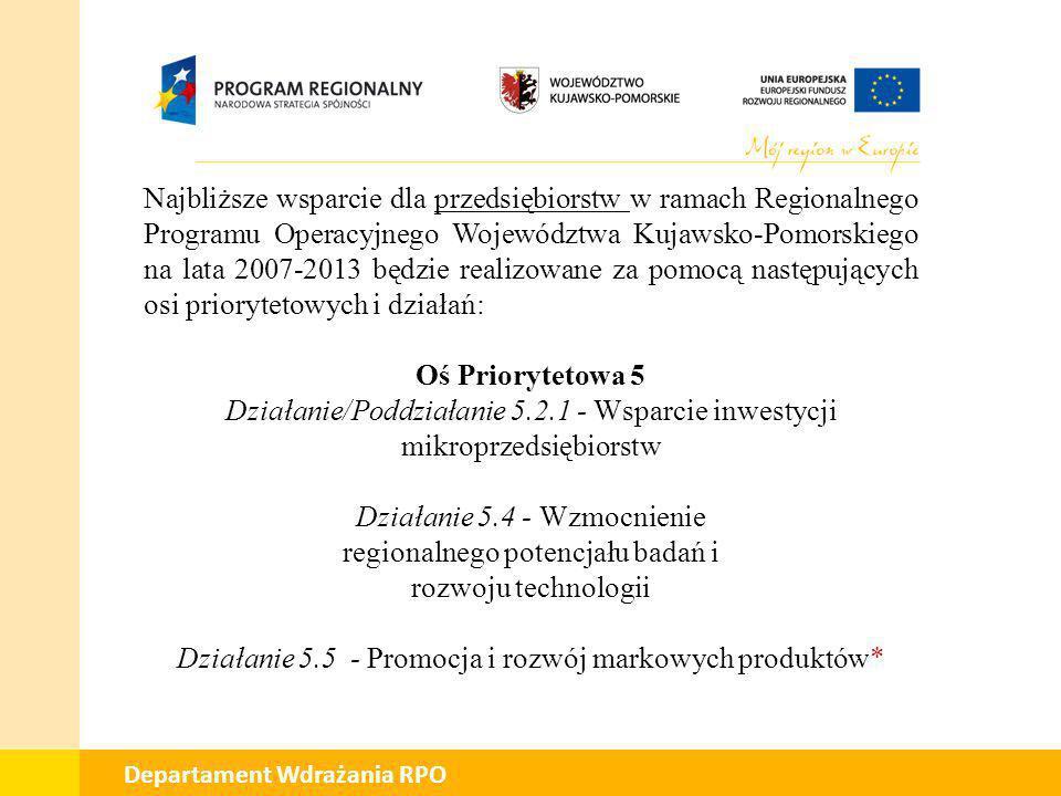 01 Departament Wdrażania RPO Działanie/Poddziałanie 5.2.1 – Wsparcie inwestycji mikroprzedsiębiorstw Planowane ogłoszenie konkursu: styczeń 2011 r.
