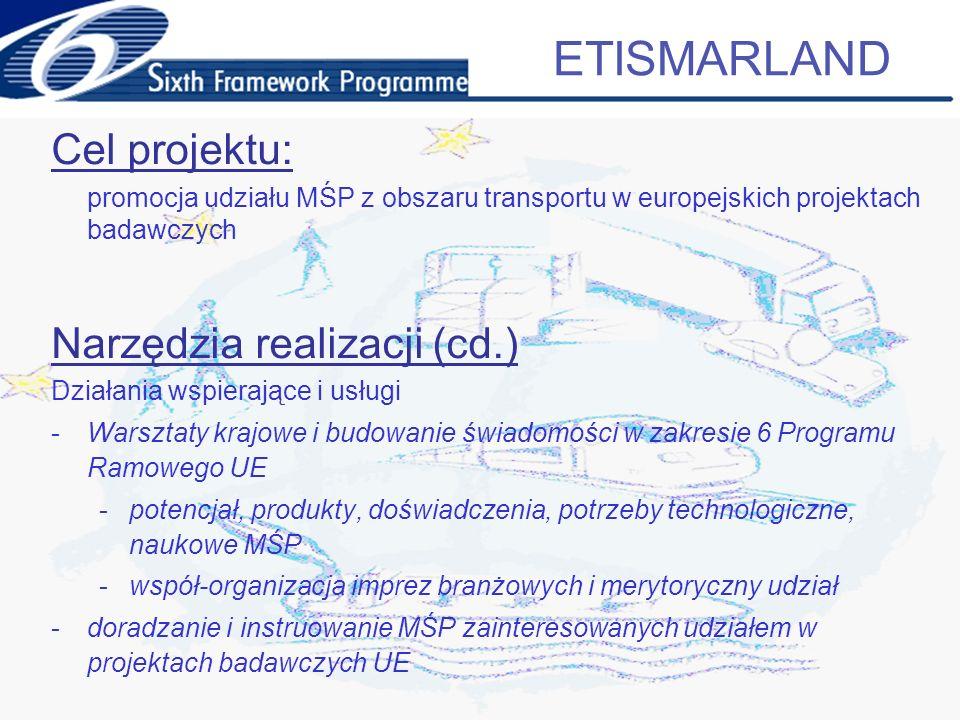 Cele operacyjne projektu: 1.Wzmocnienie świadomości o istniejących i potencjalnych łańcuchach dostaw, rozpoznanie, potencjału, różnic i słabości 2.W obszarze dużych przedsiębiorstw – rozpoznanie potrzeb technologicznych, które mogą zostać rozwiązane poprzez łańcuchy dostaw MŚP 3.W obszarze MŚP – propozycje rozwiązań naukowych 4.Zachęcanie/wspieranie udziału MŚP w projektach 6PR inicjowanych lub koordynowanych przez duże przedsiębiorstwa 5.Weryfikacja potencjału MŚP i potrzeb badawczych na poziomie europejskim ETISMARLAND