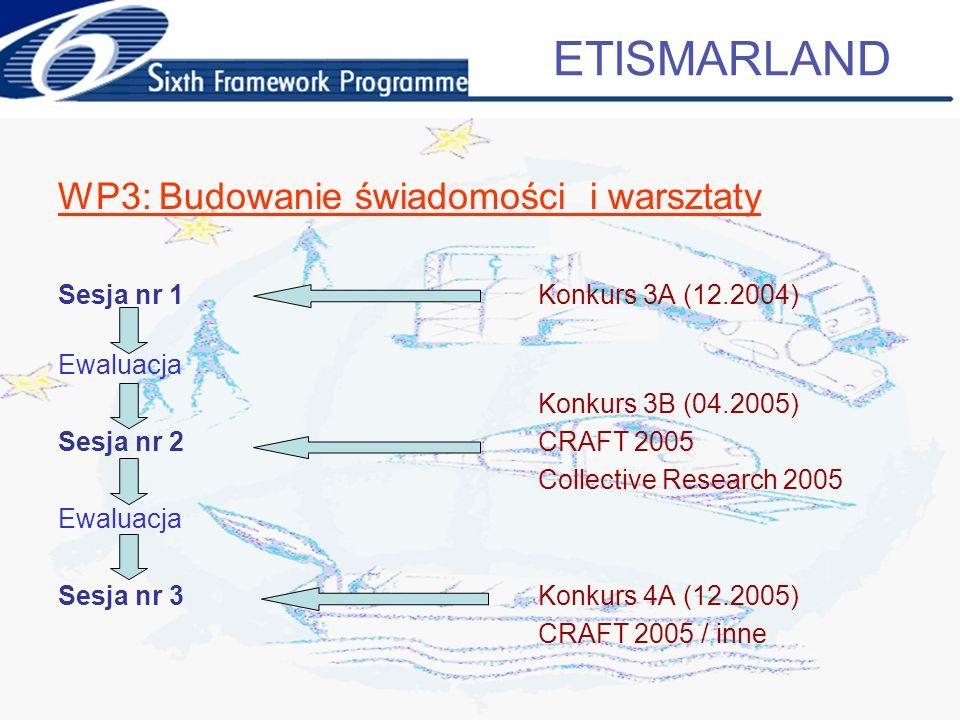 WP3: Budowanie świadomości i warsztaty Sesja nr 1Konkurs 3A (12.2004) Ewaluacja Konkurs 3B (04.2005) Sesja nr 2CRAFT 2005 Collective Research 2005 Ewaluacja Sesja nr 3Konkurs 4A (12.2005) CRAFT 2005 / inne ETISMARLAND