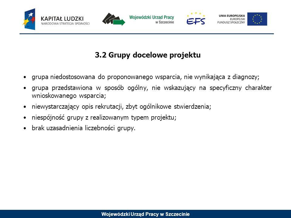 Wojewódzki Urząd Pracy w Szczecinie 3.2 Grupy docelowe projektu grupa niedostosowana do proponowanego wsparcia, nie wynikająca z diagnozy; grupa przedstawiona w sposób ogólny, nie wskazujący na specyficzny charakter wnioskowanego wsparcia; niewystarczający opis rekrutacji, zbyt ogólnikowe stwierdzenia; niespójność grupy z realizowanym typem projektu; brak uzasadnienia liczebności grupy.