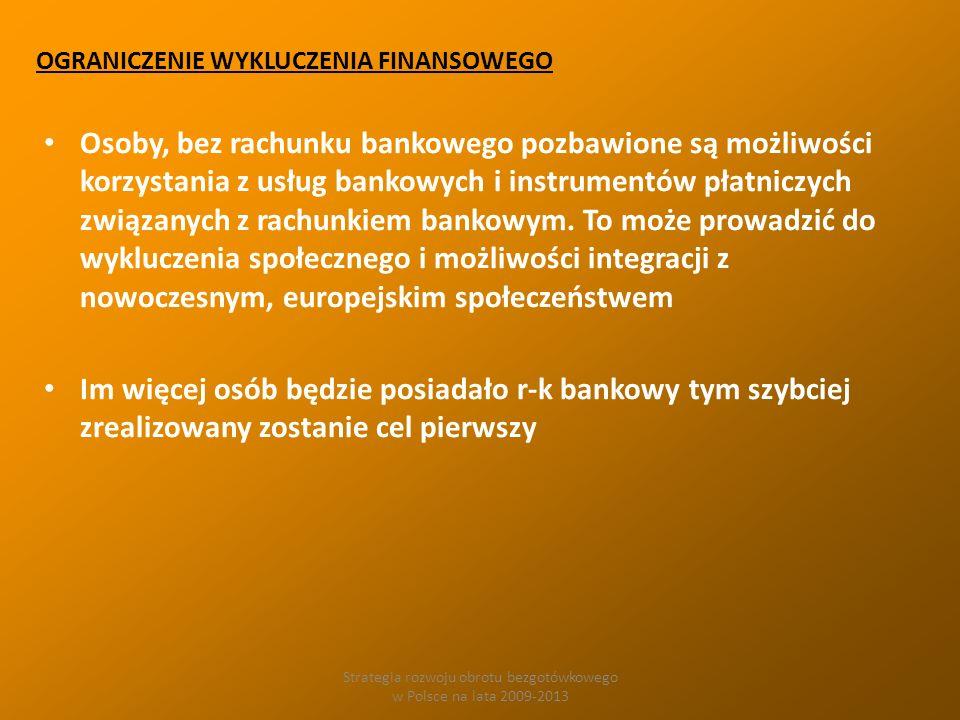 Strategia rozwoju obrotu bezgotówkowego w Polsce na lata 2009-2013 OGRANICZENIE WYKLUCZENIA FINANSOWEGO Osoby, bez rachunku bankowego pozbawione są możliwości korzystania z usług bankowych i instrumentów płatniczych związanych z rachunkiem bankowym.
