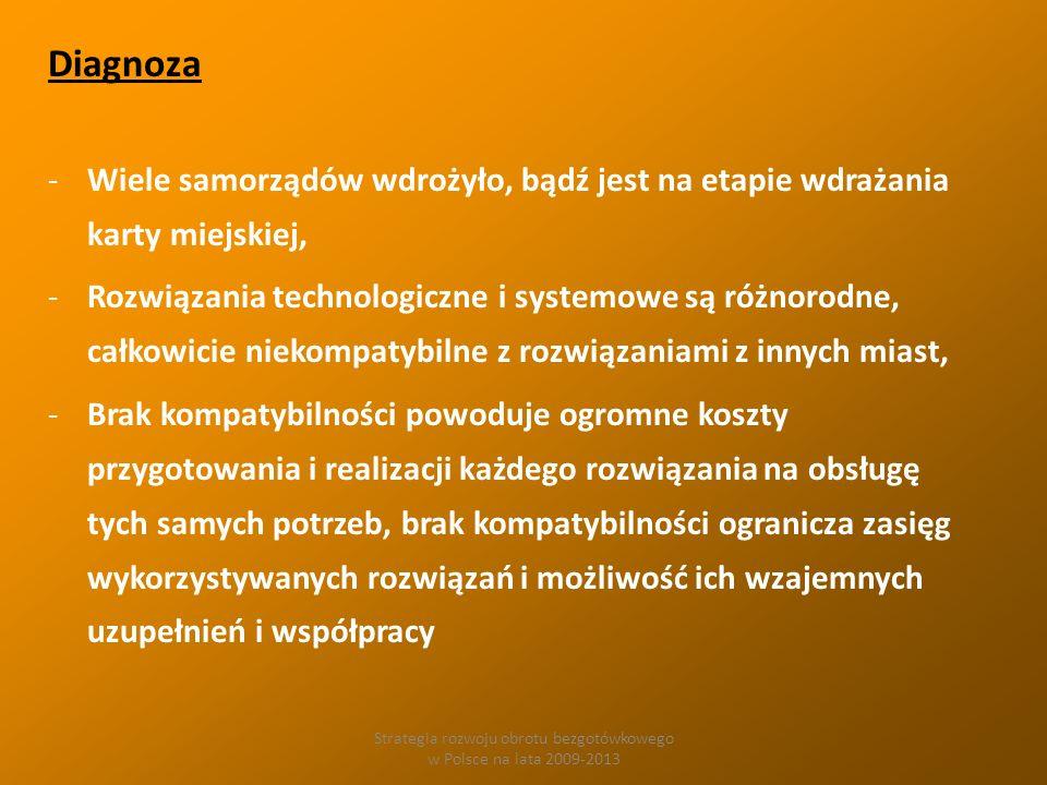 Strategia rozwoju obrotu bezgotówkowego w Polsce na lata 2009-2013 Diagnoza -Wiele samorządów wdrożyło, bądź jest na etapie wdrażania karty miejskiej, -Rozwiązania technologiczne i systemowe są różnorodne, całkowicie niekompatybilne z rozwiązaniami z innych miast, -Brak kompatybilności powoduje ogromne koszty przygotowania i realizacji każdego rozwiązania na obsługę tych samych potrzeb, brak kompatybilności ogranicza zasięg wykorzystywanych rozwiązań i możliwość ich wzajemnych uzupełnień i współpracy