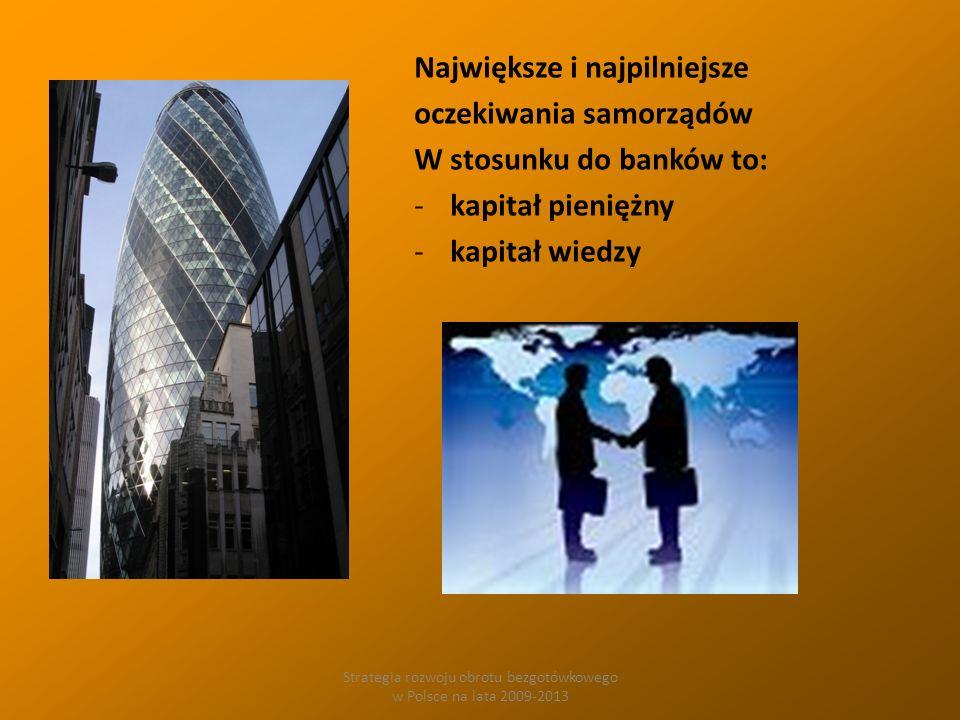 Strategia rozwoju obrotu bezgotówkowego w Polsce na lata 2009-2013 Największe i najpilniejsze oczekiwania samorządów W stosunku do banków to: -kapitał pieniężny -kapitał wiedzy