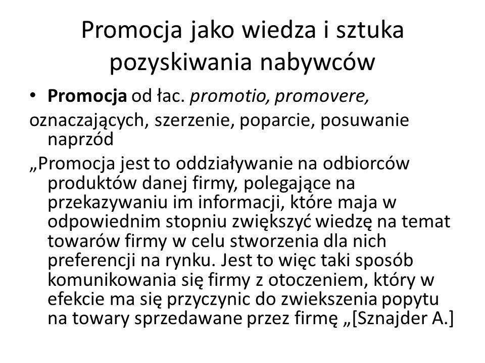 Promocja jako wiedza i sztuka pozyskiwania nabywców Promocja od łac. promotio, promovere, oznaczających, szerzenie, poparcie, posuwanie naprzód Promoc