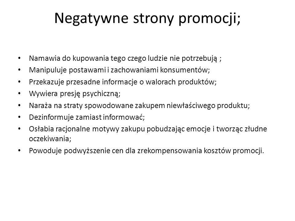 Negatywne strony promocji; Namawia do kupowania tego czego ludzie nie potrzebują ; Manipuluje postawami i zachowaniami konsumentów; Przekazuje przesad