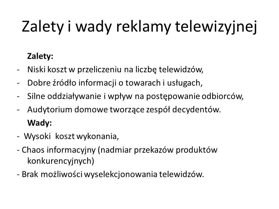 Zalety i wady reklamy telewizyjnej Zalety: -Niski koszt w przeliczeniu na liczbę telewidzów, -Dobre źródło informacji o towarach i usługach, -Silne od