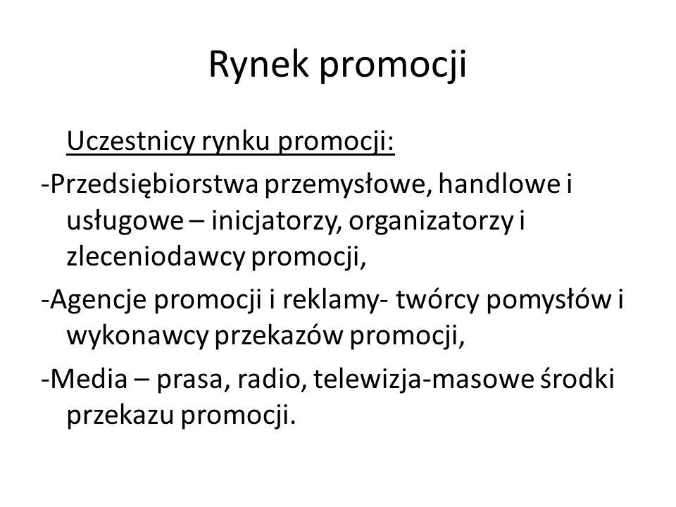 Rynek promocji Uczestnicy rynku promocji: -Przedsiębiorstwa przemysłowe, handlowe i usługowe – inicjatorzy, organizatorzy i zleceniodawcy promocji, -A