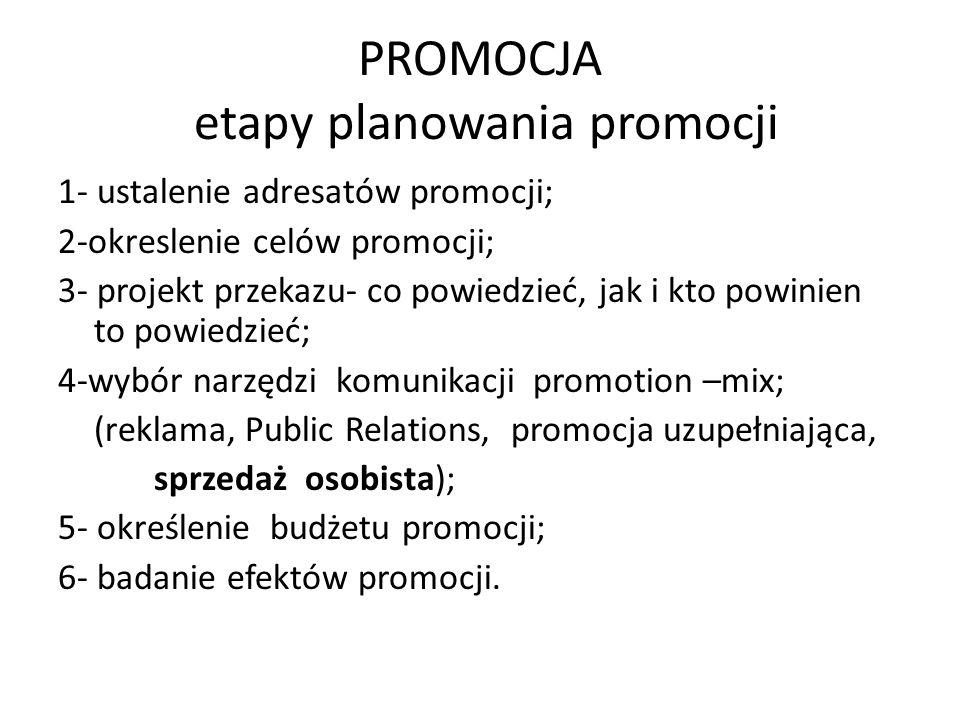 PROMOCJA etapy planowania promocji 1- ustalenie adresatów promocji; 2-okreslenie celów promocji; 3- projekt przekazu- co powiedzieć, jak i kto powinie