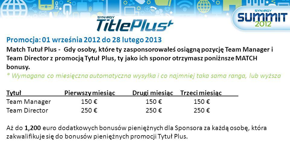 Promocja: 01 września 2012 do 28 lutego 2013 Match Tutuł Plus - Gdy osoby, które ty zasponsorowałeś osiągną pozycję Team Manager i Team Director z pro