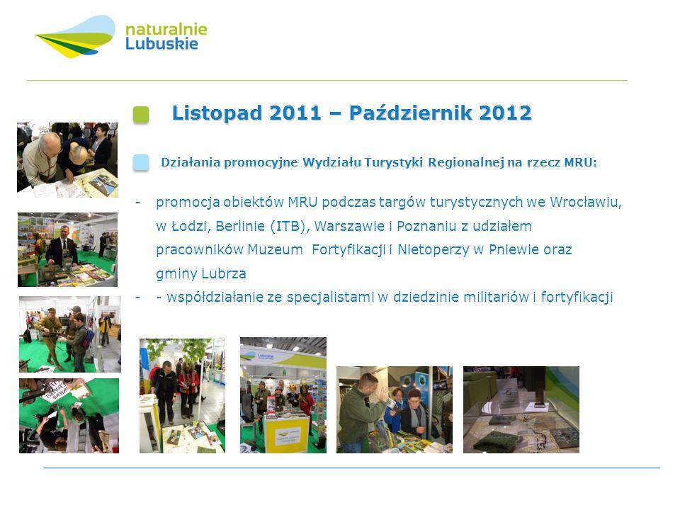 Listopad 2011 – Październik 2012 Działania promocyjne Wydziału Turystyki Regionalnej na rzecz MRU: -promocja obiektów MRU podczas targów turystycznych