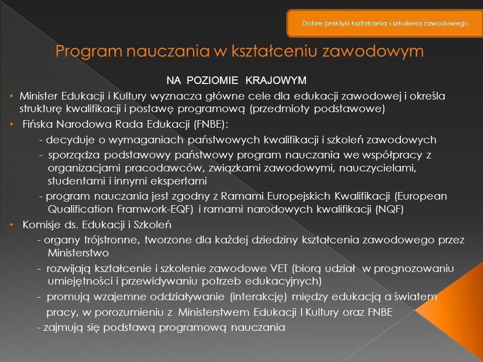 NA POZIOMIE KRAJOWYM Minister Edukacji i Kultury wyznacza główne cele dla edukacji zawodowej i określa strukturę kwalifikacji i postawę programową (pr