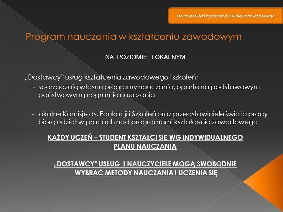 NA POZIOMIE LOKALNYM Dostawcy usług kształcenia zawodowego i szkoleń: - sporządzają własne programy nauczania, oparte na podstawowym państwowym progra