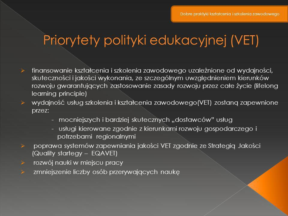 finansowanie kształcenia i szkolenia zawodowego uzależnione od wydajności, skuteczności i jakości wykonania, ze szczególnym uwzględnieniem kierunków r