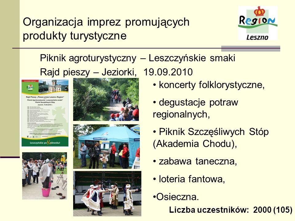 Organizacja imprez promujących produkty turystyczne Piknik agroturystyczny – Leszczyńskie smaki Rajd pieszy – Jeziorki, 19.09.2010 koncerty folkloryst