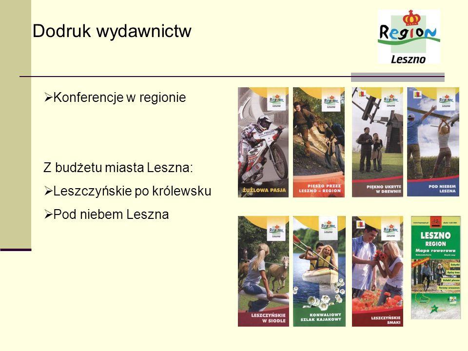 Dodruk wydawnictw Konferencje w regionie Z budżetu miasta Leszna: Leszczyńskie po królewsku Pod niebem Leszna