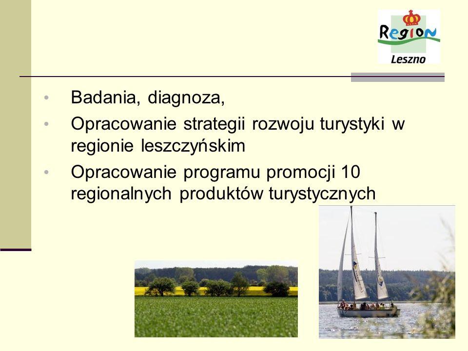 Badania, diagnoza, Opracowanie strategii rozwoju turystyki w regionie leszczyńskim Opracowanie programu promocji 10 regionalnych produktów turystyczny