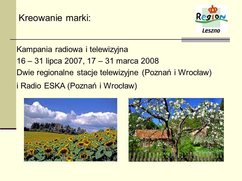 Kreowanie marki: Kampania radiowa i telewizyjna 16 – 31 lipca 2007, 17 – 31 marca 2008 Dwie regionalne stacje telewizyjne (Poznań i Wrocław) i Radio E