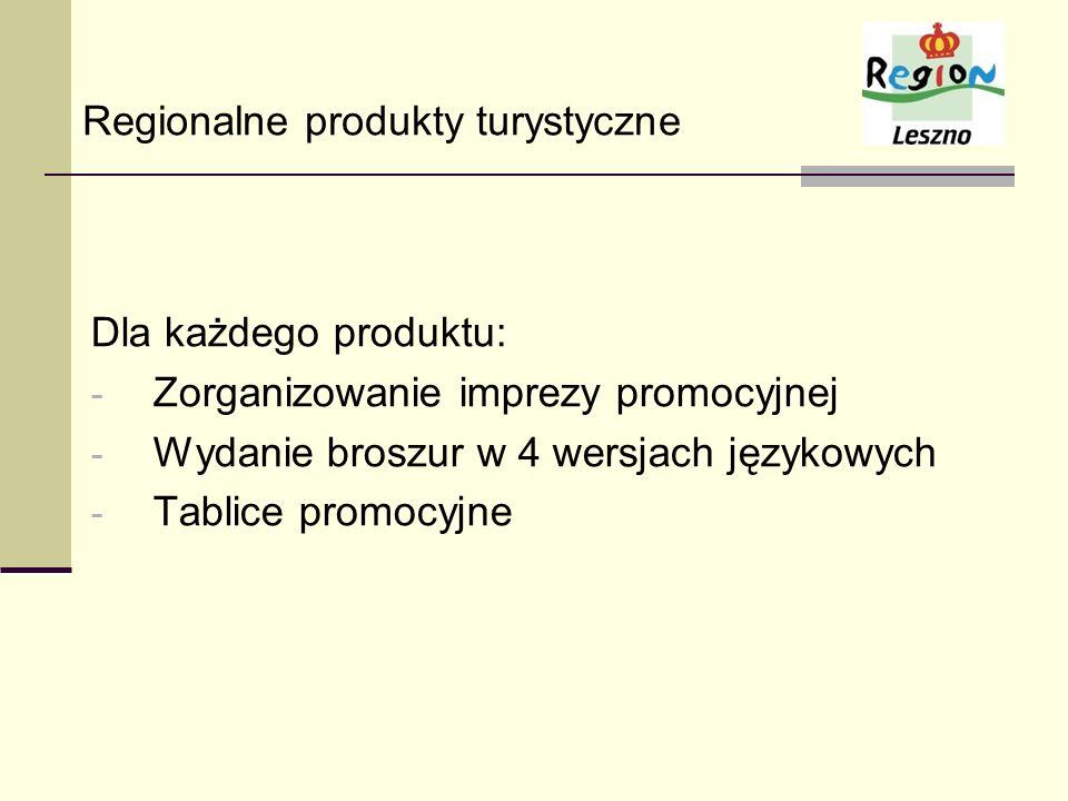 Dla każdego produktu: - Zorganizowanie imprezy promocyjnej - Wydanie broszur w 4 wersjach językowych - Tablice promocyjne Regionalne produkty turystyc