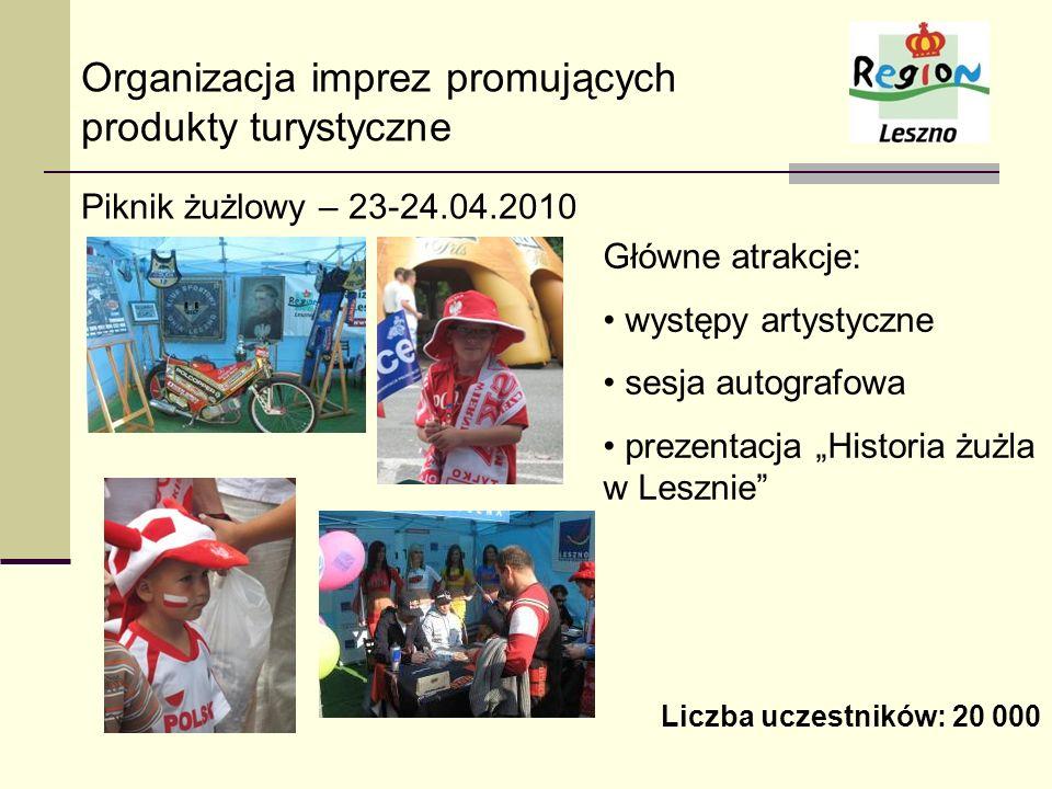 Organizacja imprez promujących produkty turystyczne Piknik żużlowy – 23-24.04.2010 Główne atrakcje: występy artystyczne sesja autografowa prezentacja