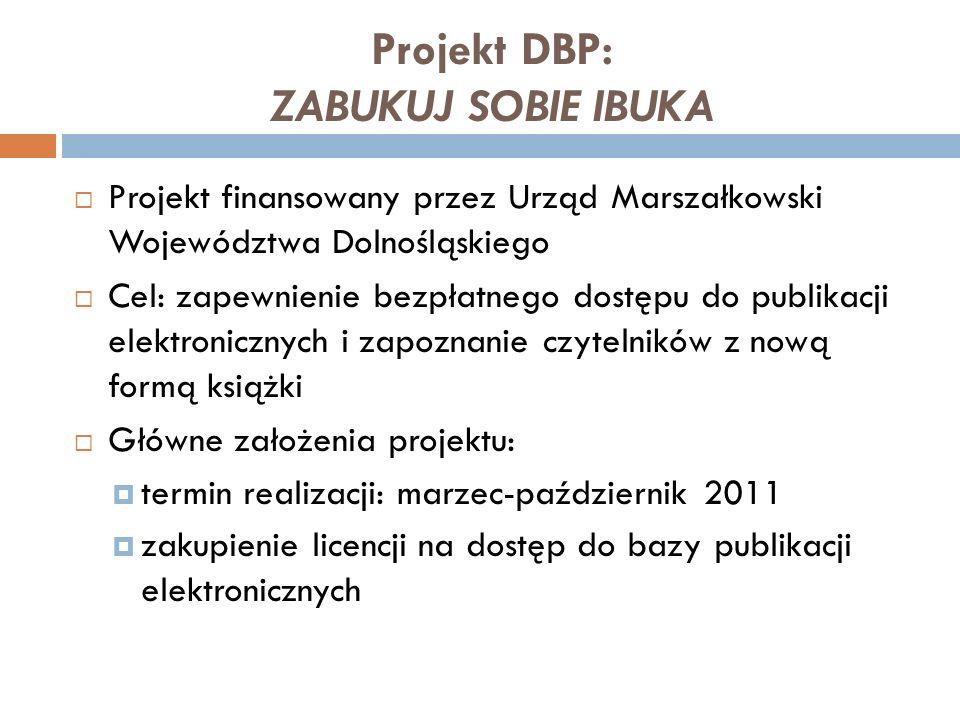 Projekt DBP: ZABUKUJ SOBIE IBUKA Projekt finansowany przez Urząd Marszałkowski Województwa Dolnośląskiego Cel: zapewnienie bezpłatnego dostępu do publ