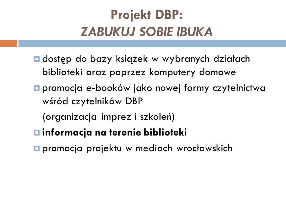 Projekt DBP: ZABUKUJ SOBIE IBUKA dostęp do bazy książek w wybranych działach biblioteki oraz poprzez komputery domowe promocja e-booków jako nowej for
