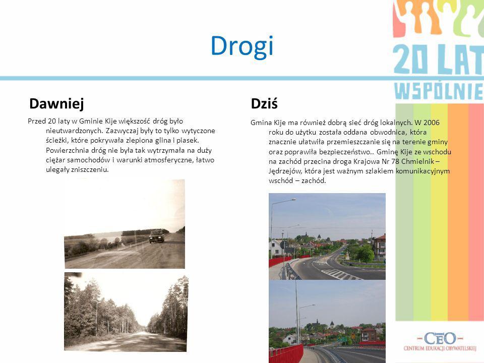 Drogi Dawniej Przed 20 laty w Gminie Kije większość dróg było nieutwardzonych. Zazwyczaj były to tylko wytyczone ścieżki, które pokrywała zlepiona gli