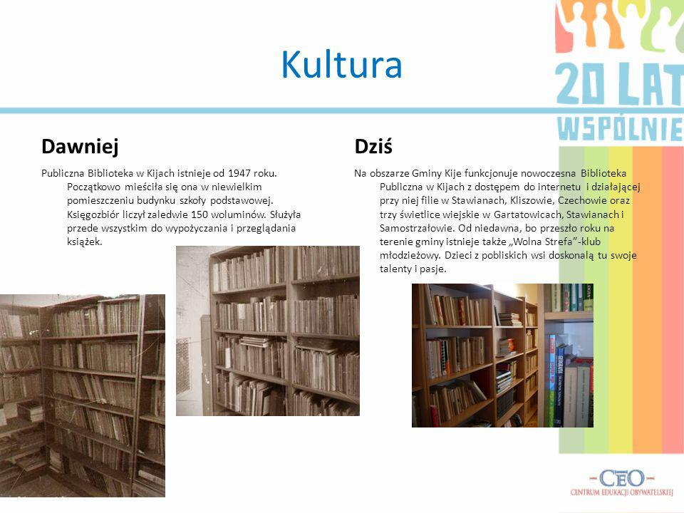 Kultura Dawniej Publiczna Biblioteka w Kijach istnieje od 1947 roku. Początkowo mieściła się ona w niewielkim pomieszczeniu budynku szkoły podstawowej