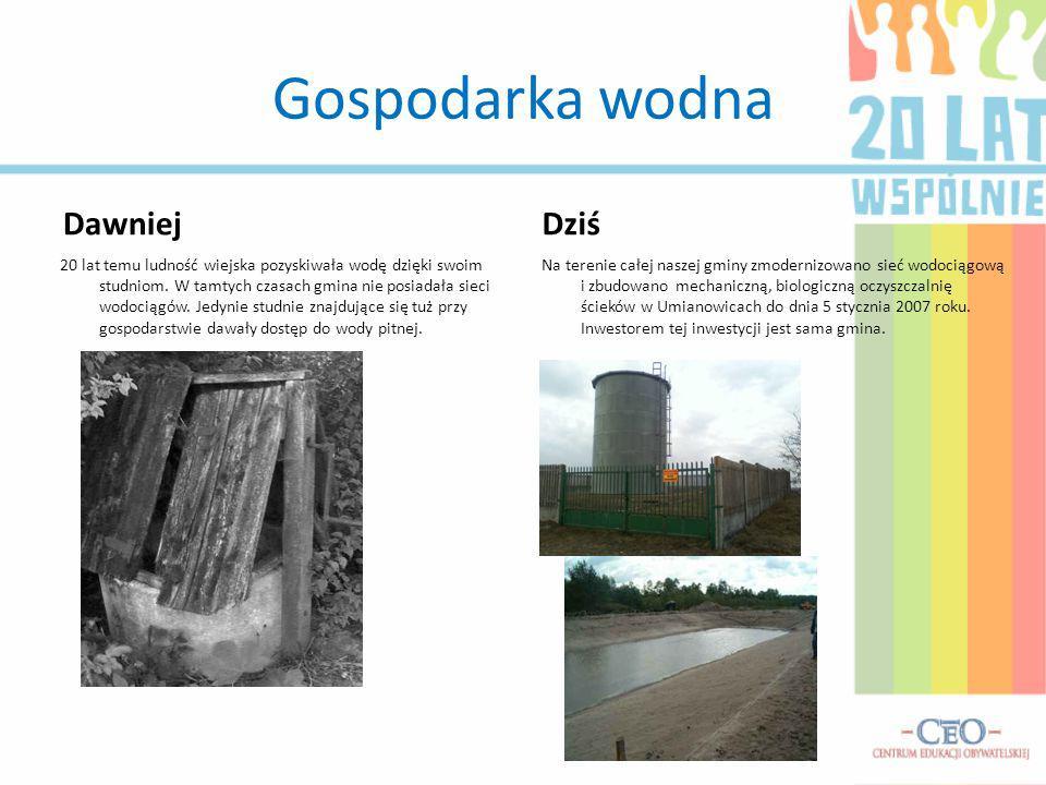 Gospodarka wodna Dawniej 20 lat temu ludność wiejska pozyskiwała wodę dzięki swoim studniom. W tamtych czasach gmina nie posiadała sieci wodociągów. J
