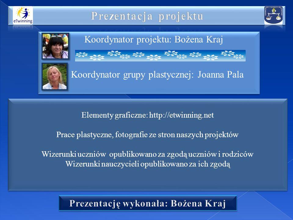 Koordynator projektu: Bożena Kraj Koordynator grupy plastycznej: Joanna Pala Koordynator projektu: Bożena Kraj Koordynator grupy plastycznej: Joanna P