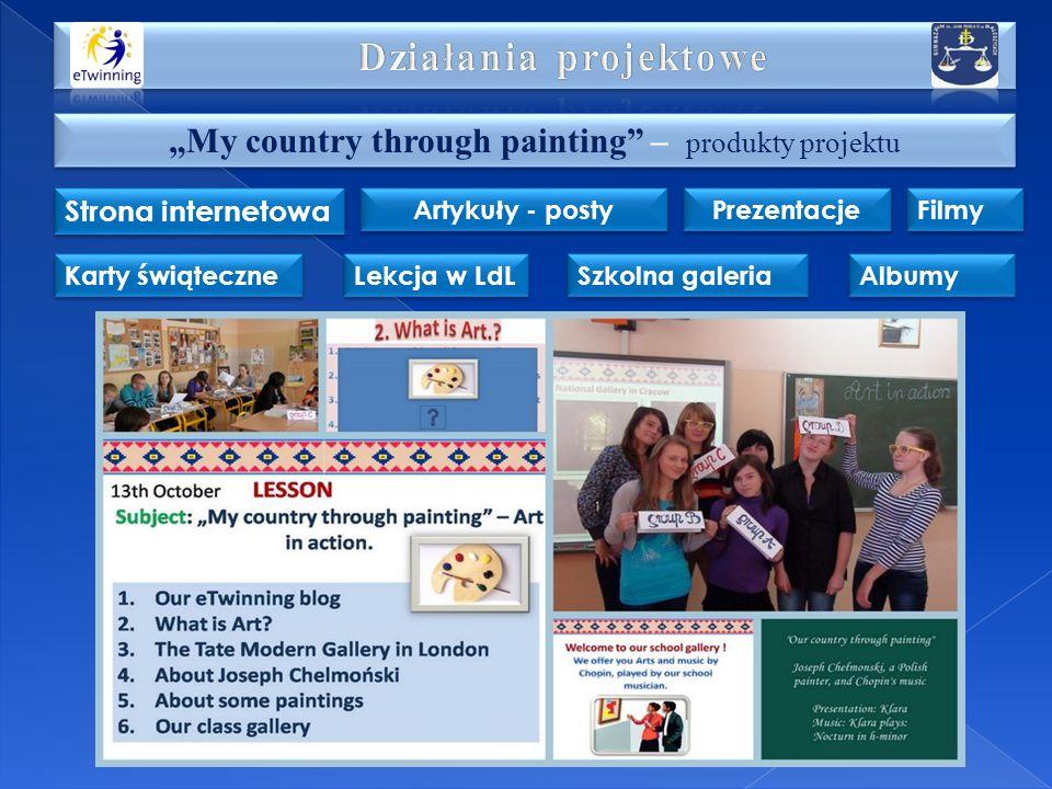 My country through painting – produkty projektu Strona internetowa Artykuły - posty Prezentacje Karty świąteczne Lekcja w LdL Szkolna galeria Albumy F