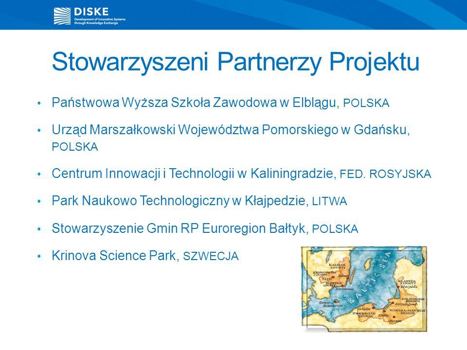 Stowarzyszeni Partnerzy Projektu Państwowa Wyższa Szkoła Zawodowa w Elblągu, POLSKA Urząd Marszałkowski Województwa Pomorskiego w Gdańsku, POLSKA Centrum Innowacji i Technologii w Kaliningradzie, FED.