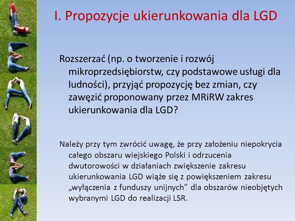 I. Propozycje ukierunkowania dla LGD Rozszerzać (np. o tworzenie i rozwój mikroprzedsiębiorstw, czy podstawowe usługi dla ludności), przyjąć propozycj