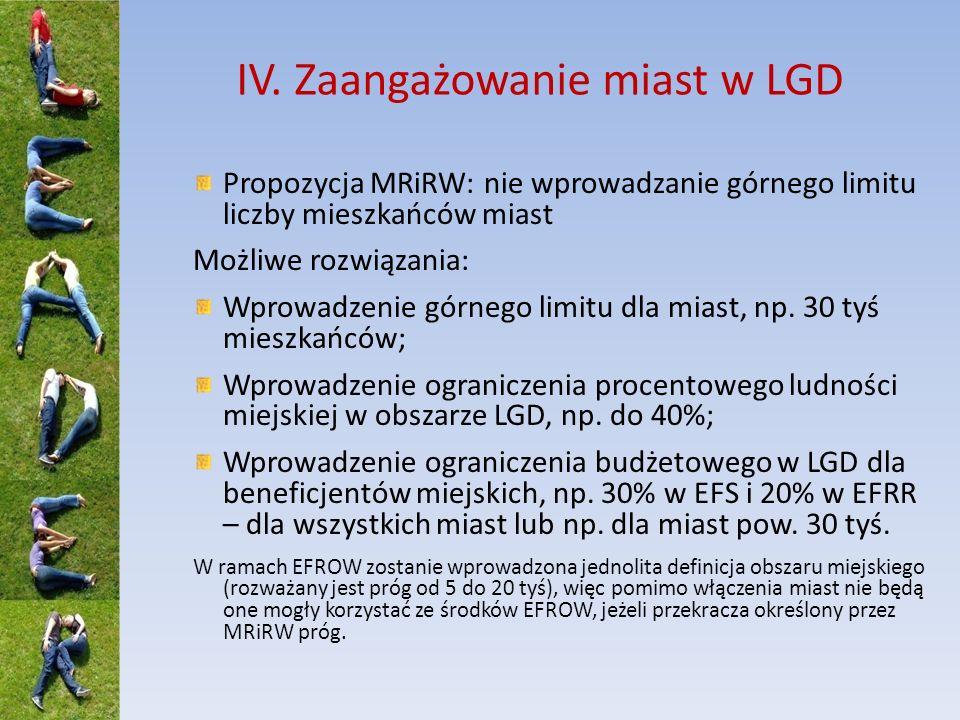 IV. Zaangażowanie miast w LGD Propozycja MRiRW: nie wprowadzanie górnego limitu liczby mieszkańców miast Możliwe rozwiązania: Wprowadzenie górnego lim