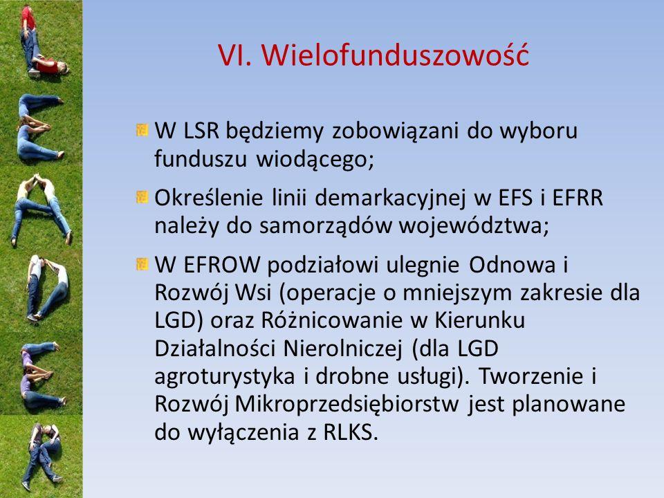 VI. Wielofunduszowość W LSR będziemy zobowiązani do wyboru funduszu wiodącego; Określenie linii demarkacyjnej w EFS i EFRR należy do samorządów wojewó