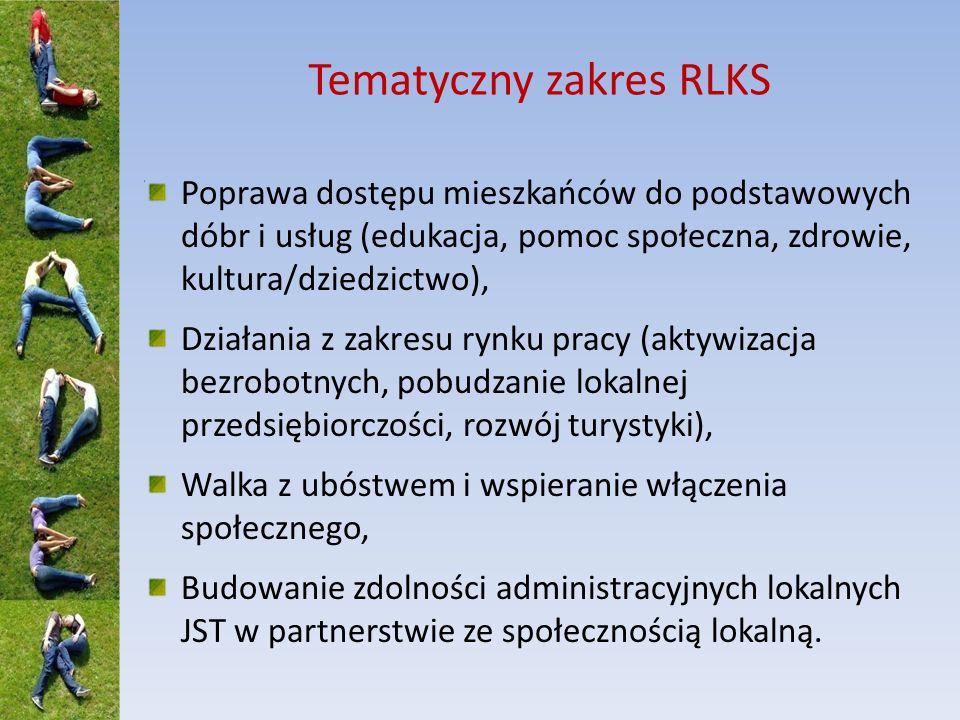 Tematyczny zakres RLKS Poprawa dostępu mieszkańców do podstawowych dóbr i usług (edukacja, pomoc społeczna, zdrowie, kultura/dziedzictwo), Działania z zakresu rynku pracy (aktywizacja bezrobotnych, pobudzanie lokalnej przedsiębiorczości, rozwój turystyki), Walka z ubóstwem i wspieranie włączenia społecznego, Budowanie zdolności administracyjnych lokalnych JST w partnerstwie ze społecznością lokalną.