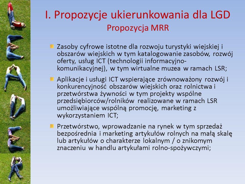 I. Propozycje ukierunkowania dla LGD Propozycja MRR Zasoby cyfrowe istotne dla rozwoju turystyki wiejskiej i obszarów wiejskich w tym katalogowanie za
