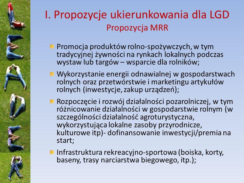 I. Propozycje ukierunkowania dla LGD Propozycja MRR Promocja produktów rolno-spożywczych, w tym tradycyjnej żywności na rynkach lokalnych podczas wyst