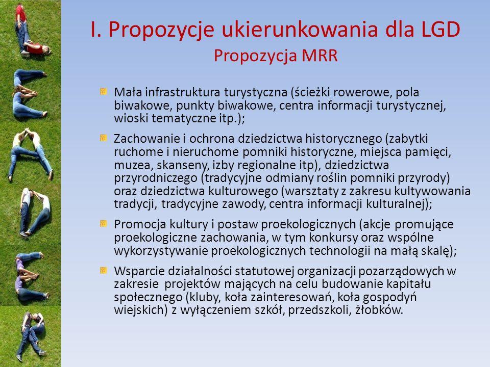 I. Propozycje ukierunkowania dla LGD Propozycja MRR Mała infrastruktura turystyczna (ścieżki rowerowe, pola biwakowe, punkty biwakowe, centra informac