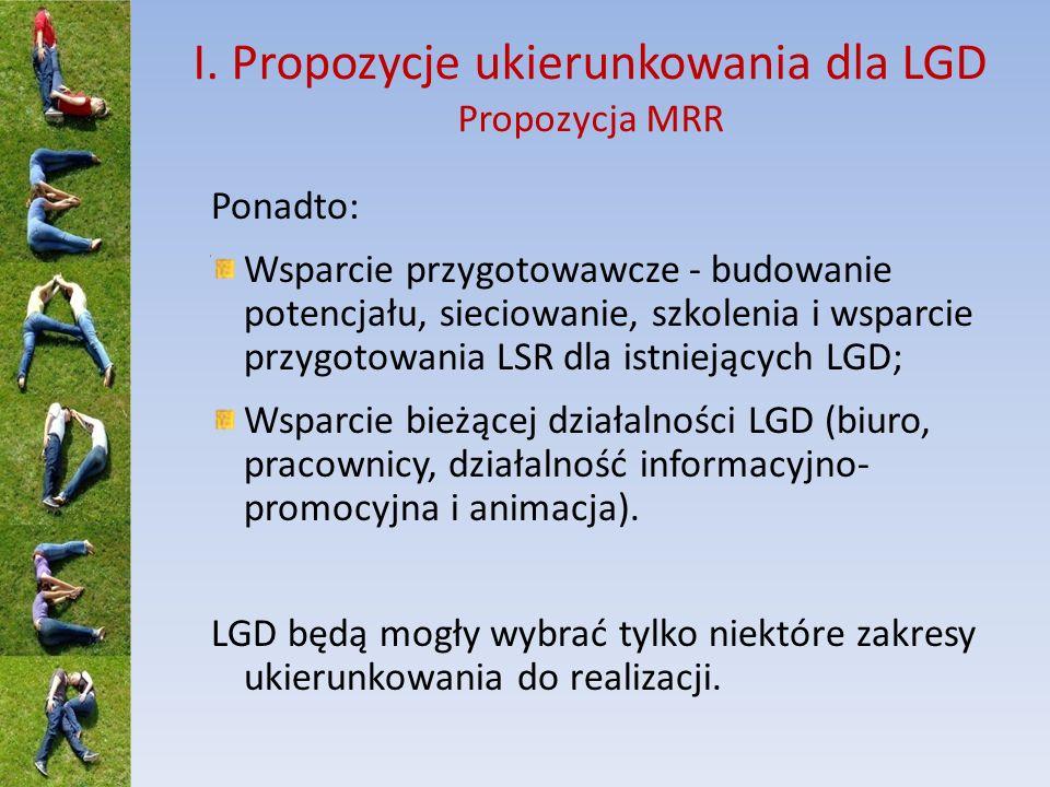 I. Propozycje ukierunkowania dla LGD Propozycja MRR Ponadto: Wsparcie przygotowawcze - budowanie potencjału, sieciowanie, szkolenia i wsparcie przygot