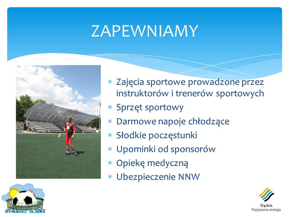 Propagowanie kultury fizycznej Rozwijanie zainteresowań w zakresie sportu i rekreacji wśród dzieci z województwa śląskiego Pomoc w rozwijaniu umiejętności właściwego organizowania wypoczynku Promocja obiektów sportowych Stadionu Śląskiego CELE AKCJI