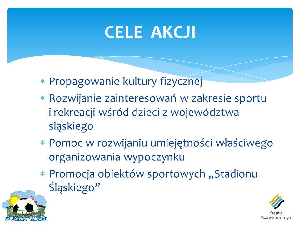 Propagowanie kultury fizycznej Rozwijanie zainteresowań w zakresie sportu i rekreacji wśród dzieci z województwa śląskiego Pomoc w rozwijaniu umiejętn